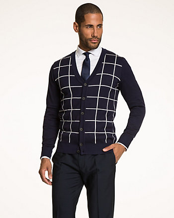 Windowpane Rayon Blend Cardigan