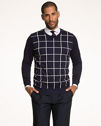 Windowpane Rayon Blend Sweater