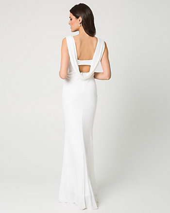 Jersey Scoop Neck Gown