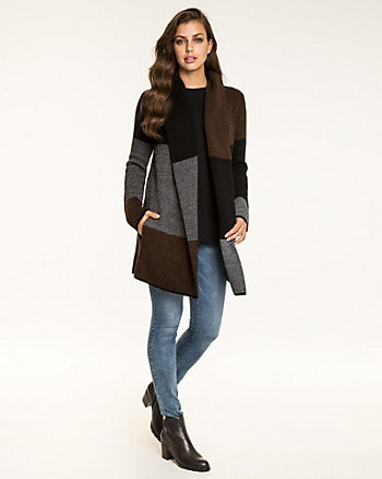 Colour Block Wool Blend Sweater Coat
