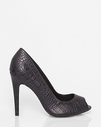 Brazilian-Made Leather-Like Peep Toe Pump