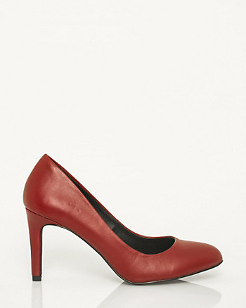 Faux Leather Almond Toe Pump