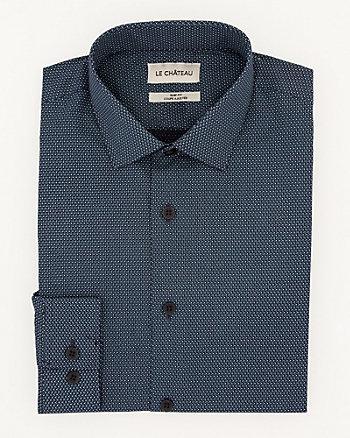 Chemise à pois de coupe ajustée en coton
