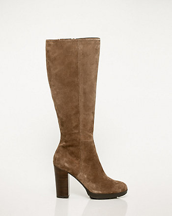 Suede Platform Almond Toe Boot