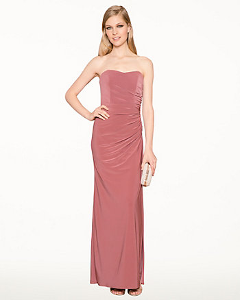Knit Sweetheart Ruched Gown