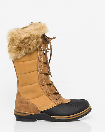 Leather & Felt Boot with Faux Fur Trim