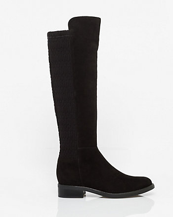 Suede Almond Toe Knee-High Boot