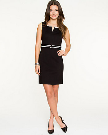 Knit Contrast Piping Shift Dress