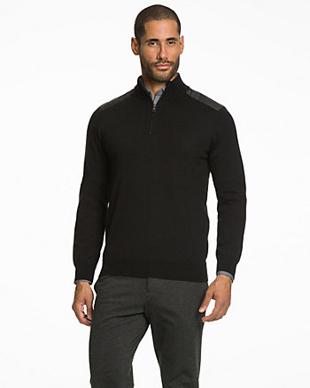 Wool Blend Zip Mock Neck Sweater