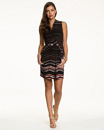 Chevron Print Faux Wrap Dress