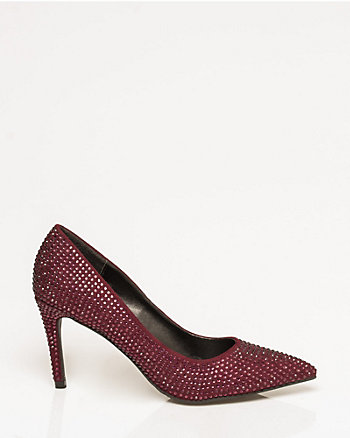 Jewel Embellished Faux Suede Pump