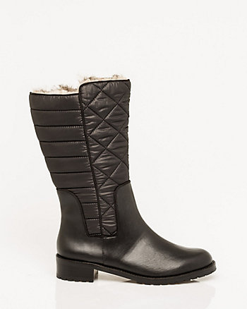 Leather-Like Round Toe Boot