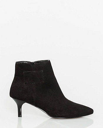 Faux Suede Pointy Toe Ankle Boot