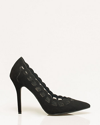 Suede-Like & Mesh Cutout Pump