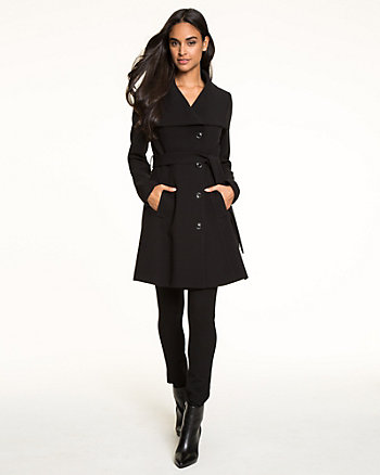 Double Weave Open Collar Coat