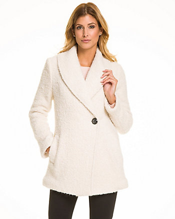Wool Blend Shawl Collar Coat