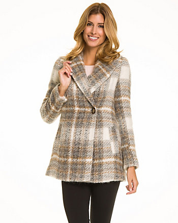 Check Print Wool Blend Coat