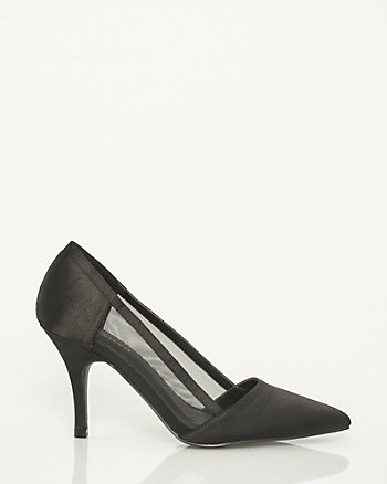Satin & Mesh Pointy Toe Pump