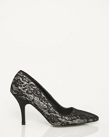 Lace & Glitter Pointy Toe Pump