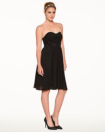 Chiffon Jewel Embellished Cocktail Dress
