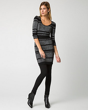 Stripe Viscose Blend Tunic Sweater