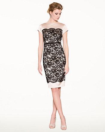 Lace & Satin Shift Cocktail Dress