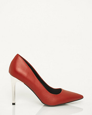 Faux Leather Pointy Toe Pump