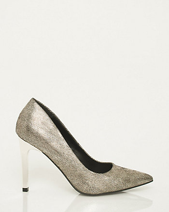 Lizard Leather-Like Pointy Toe Pump
