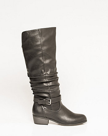 Faux Leather Almond Toe Knee-High Boot