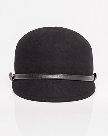 Military Felt & Faux Leather Hat