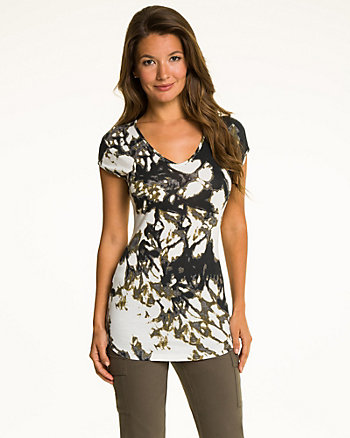 Brushstroke Jersey Knit V-Neck Top
