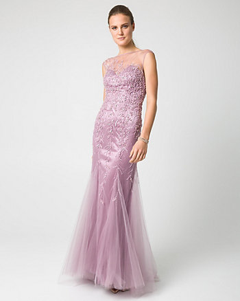 Beaded & Knit Illusion Neck Gown