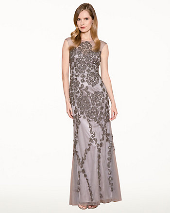 Beaded Mesh Illusion Gown