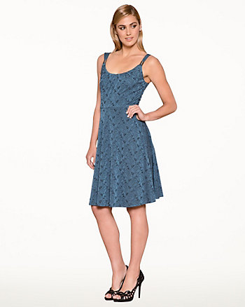Jacquard Scoop Neck Fit & Flare Dress