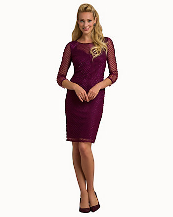 Beaded Knit Illusion Cocktail Dress