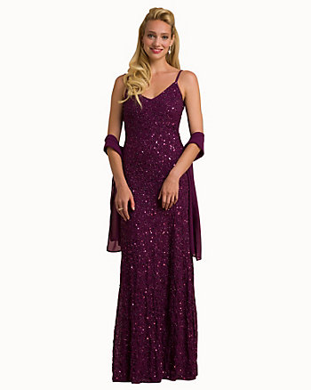 Beaded Knit V-Neck Gown & Scarf