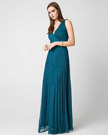 Sparkle Knit V-Neck Gown
