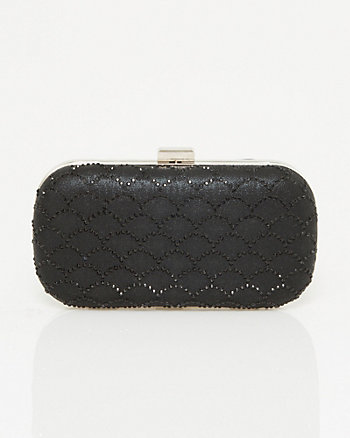 Jewel Embellished Suede-Like Minaudière