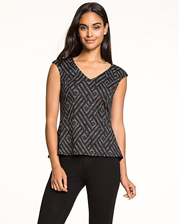 Chevron Print Ponte Knit V-Neck Top
