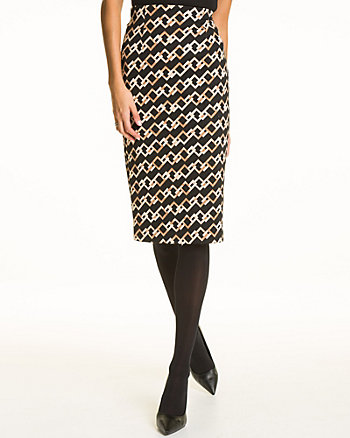 Chain Link Print High Waist Midi Skirt