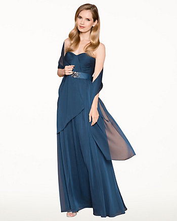 Chiffon Sweetheart Gown & Scarf