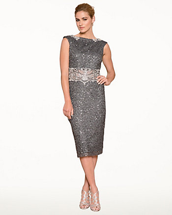 Beaded Boat Neck Cocktail Dress