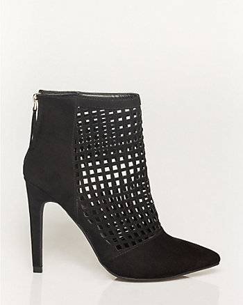 Suede-Like Pointy Toe Cage Shootie