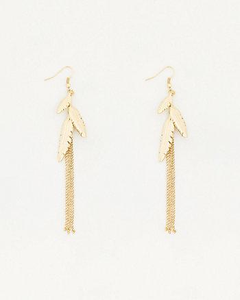 Metal Leaves & Fringe Earrings