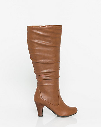 Leather-Like Round Toe Knee-High Boot