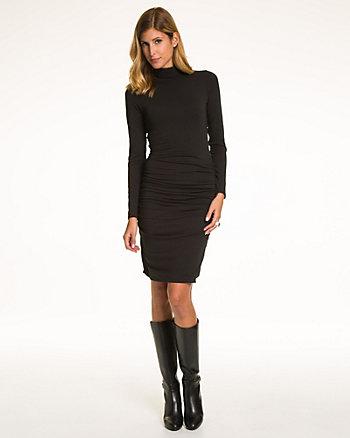 Jersey Turtleneck Ruched Dress