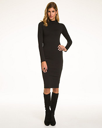Jersey Turtleneck Midi Dress