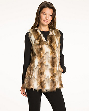 Patchwork Vest with Faux Fur Trim