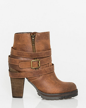 Faux Leather Buckle Ankle Boot