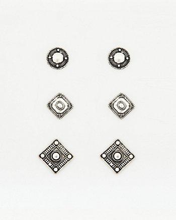 Trio of Metal Stud Earrings